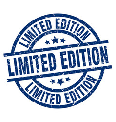 Limited edition blue round grunge stamp vector