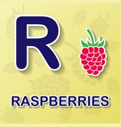 Raspberrie alphabet background vector