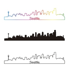 Seattle skyline linear style with rainbow vector