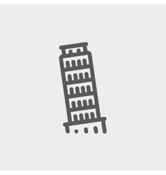 The Leaning Tower Pisa thin line icon vector image