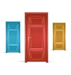 three doors blue red and yellow vector image
