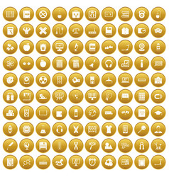 100 learning kids icons set gold vector