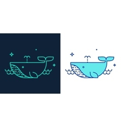 Linear style icon of a whale vector image