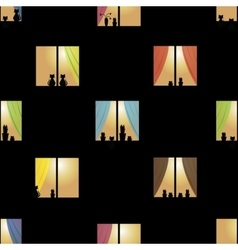Multicolor night town windows seamless pattern vector