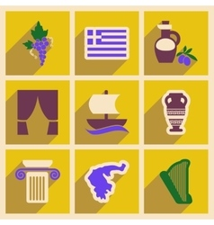 Set of flat web icons with long shadow Greece vector image