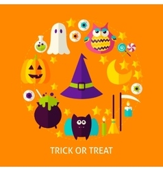 Trick or treat flat concept vector