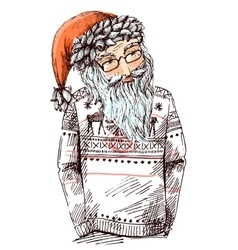 Santa dressed in knitted sweater vector