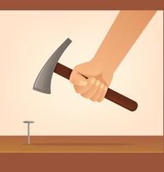 Hand hold hammer and hits nail vector