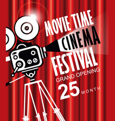 Movie time background with old fashioned camera vector