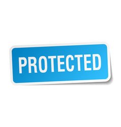 Protected square sticker on white vector