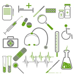 Medical green icons vector