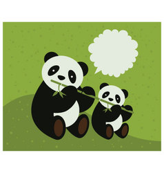 two pandas vector image