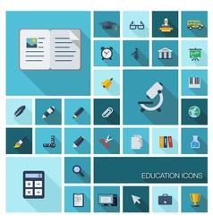 Education icons with long shadow vector