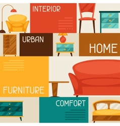Interior background with furniture in retro style vector