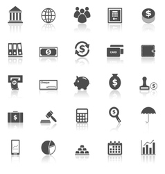 Banking icons with reflect on white background vector