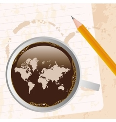 Coffee with map vector