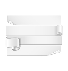 Realistic detailed curved white ribbon vector