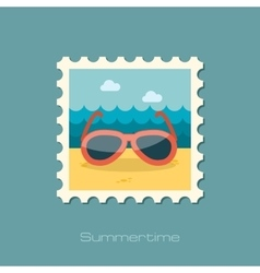 Sunglasses flat stamp vector