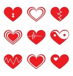 Hearts icons set in flat style vector