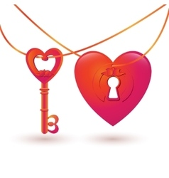 With key and heart keyhole vector