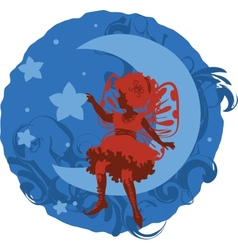 Fairy little girl silhouette vector