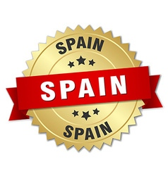 Spain round golden badge with red ribbon vector
