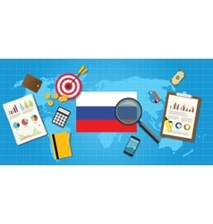 Russia economy economic condition country with vector