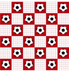 Football ball red white chess board background vector