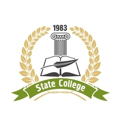 State college heraldic insignia with book and pen vector