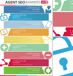 Agent seo banners set vector