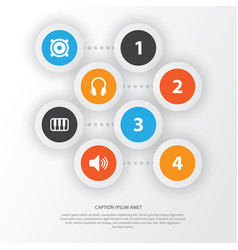 Audio icons set collection of sound earphone vector