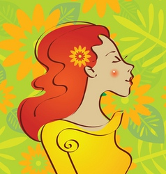 beautiful woman with a flowers vector image