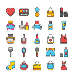 Beauty and fashion colored icons set 4 vector