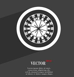 Casino roulette wheel symbol flat modern web vector
