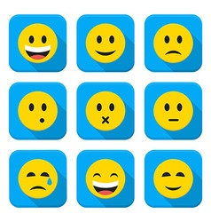 Character emotions app icons set isolated over vector