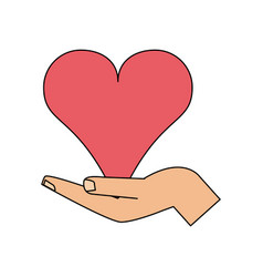 Color image hand holding a heart vector