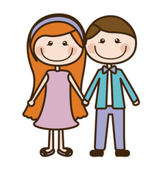 Color silhouette cartoon couple in suit formal vector
