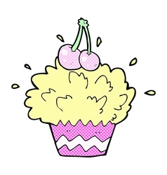 Comic cartoon exploding cupcake vector