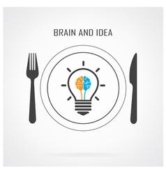 Creative light bulb idea and brain concept backgro vector image vector image
