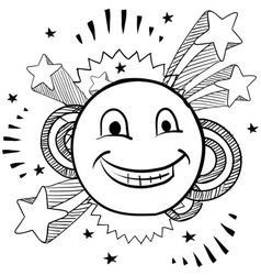 doodle pop smiley face vector image vector image
