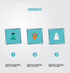 Flat icons character halloween fire and other vector