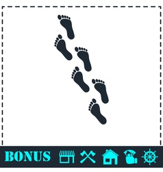 Footprint icon flat vector