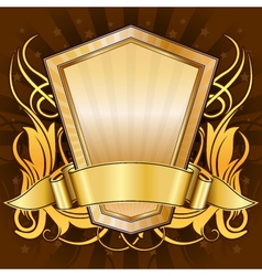 gold frame with ribbon vector image vector image