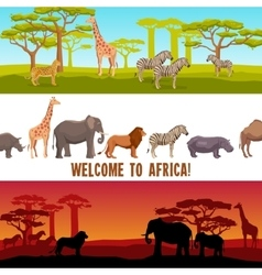 Horizontal African animals banners set vector image