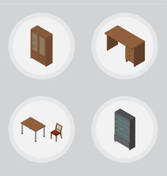 Isometric furnishing set of table chair cabinet vector