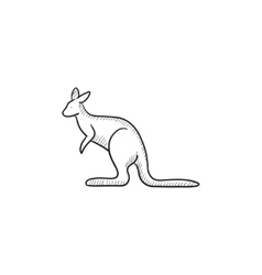 Kangaroo sketch icon vector image