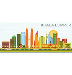 Kuala lumpur skyline with color buildings vector