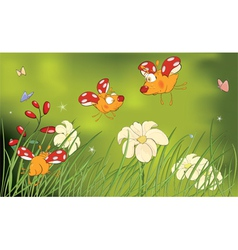 Ladybirds and flower glade cartoon vector image