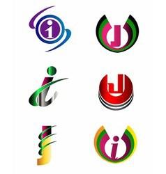 Letter J Company logo icon template set vector image