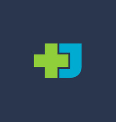 letter j cross plus logo icon design template vector image vector image